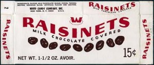 A rare box of Raisinets circa 1960