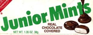 A vintage Junior Mints box from the early 1970's when Junior Mints were still being produced by Nabisco