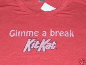 A vintage t-shirt with the Kit Kat logo  circa 1980