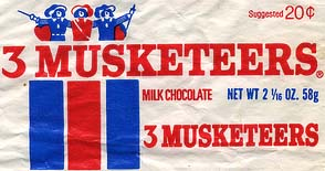 A 3 Musketeers Wrapper from the 1970's when candy bars were still $.20