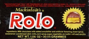 This is a rare Rolo label from the 1970's and it shows the manufacturer as being Mackintosh which was the manufacturer in England 