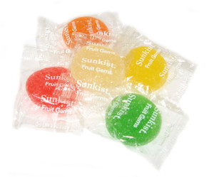 Sunkist Fruit Gems, manufactured by Jelly Belly Candy Co., are a candy classic and Kosher too.