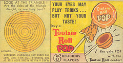 A vintage Tootsie Roll pops advertisement