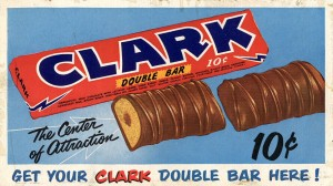 A vintage Clark Bar Advertisement made long before there was a Dark Chocolate version