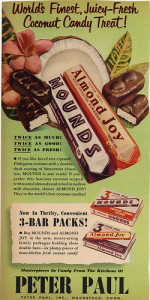 A vintage Almond Joy and Mounds Advertisement