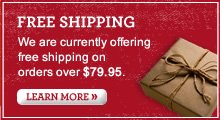 FREE SHIPPING | We are currently offering free shipping on orders over $79.95
