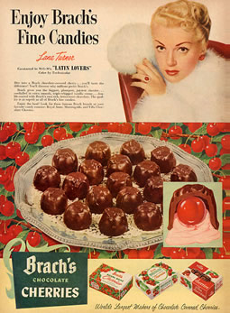 Brachs Candy Advertisement The Brach's Villa Cherries, a holiday favorite, were discontinued in 2003 Circa 1953
