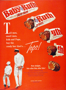 A vintage Baby Ruth Candy Bar advertisement from when the company was owned by Curtis Candy Company