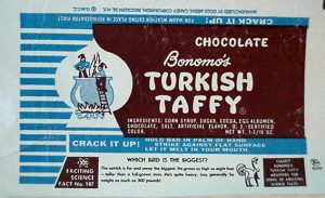 A vintage Bonomo's Turkish Taffy Wrapper
