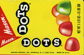 This is a box of Mason Dots Circa 1970's prior to Mason being purchased by Tootsie Roll Industries