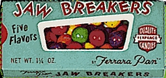 A vintage box of Ferrara Pan Jawbreakers - the candy is now known as a Jawbuster!