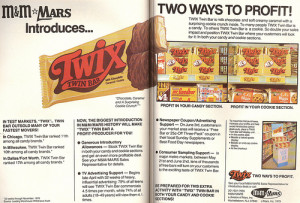 An advertisement for Twix Bars when they were first released!